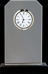 Clipped Corners Clear Glass Clock with Black Base Desk Clocks