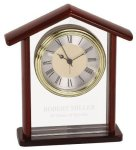 Glass & Rosewood Piano Finish Steeple Clock Gift Awards