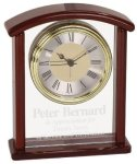 Glass & Rosewood Piano Finish Arch Clock Gift Awards