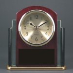 Glass Rosewood Piano Finish Desk Clock Award W/Two Tone Glass Gift Awards