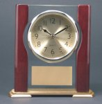 Glass Rosewood Piano Finish Desk Clock Award W/Full Columns Gift Awards