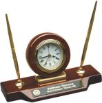 Glass Rosewood Piano Finish Desk Clock Award W/Half Columns Gift Awards