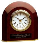 Piano Finish Rosewood Beveled Arch Clock Gift Awards