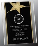 Black/Gold Standing Star Acrylic Recognition Plaque Star Awards